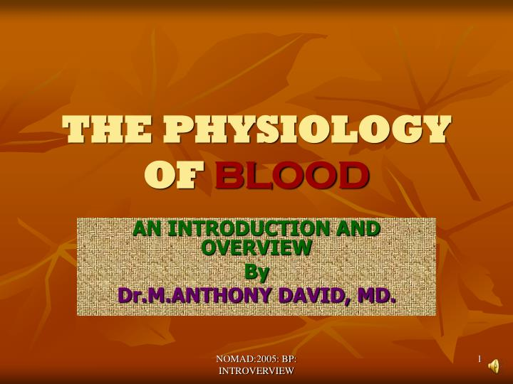 the physiology of blood n.