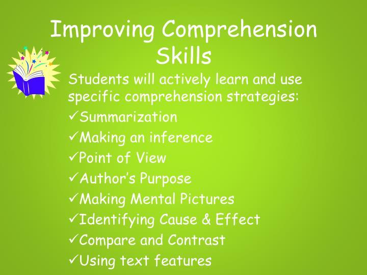 Improving Comprehension Skills
