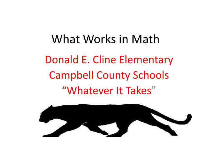 what works in math n.