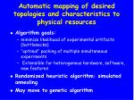 automatic mapping of desired topologies and characteristics to physical resources