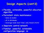 design aspects cont d