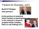 factors for success con t