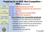 preparing for an nce next competition 2005 web end of march 03