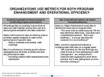 organizations use metrics for both program enhancement and operational efficiency