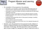 program mission and learning outcomes