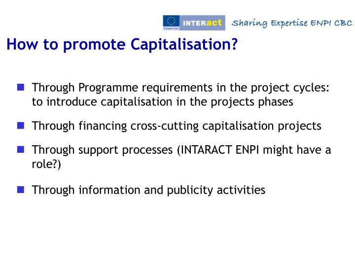 How to promote Capitalisation?