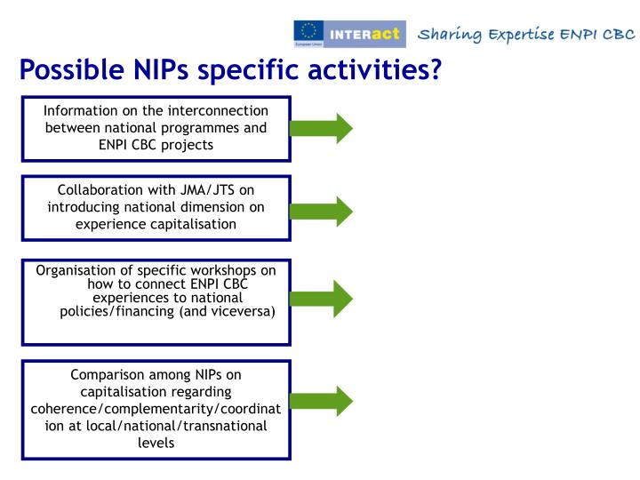 Possible NIPs specific activities?