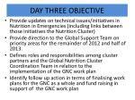 day three objective