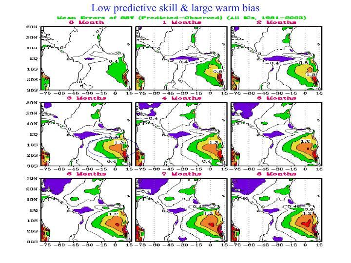 Low predictive skill & large warm bias