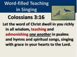 word filled teaching in singing