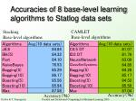 accuracies of 8 base level learning algorithms to statlog data sets
