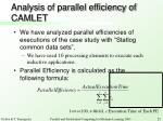 analysis of parallel efficiency of camlet