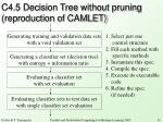 c4 5 decision tree without pruning reproduction of camlet