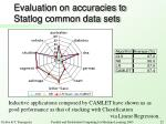 evaluation on accuracies to statlog common data sets