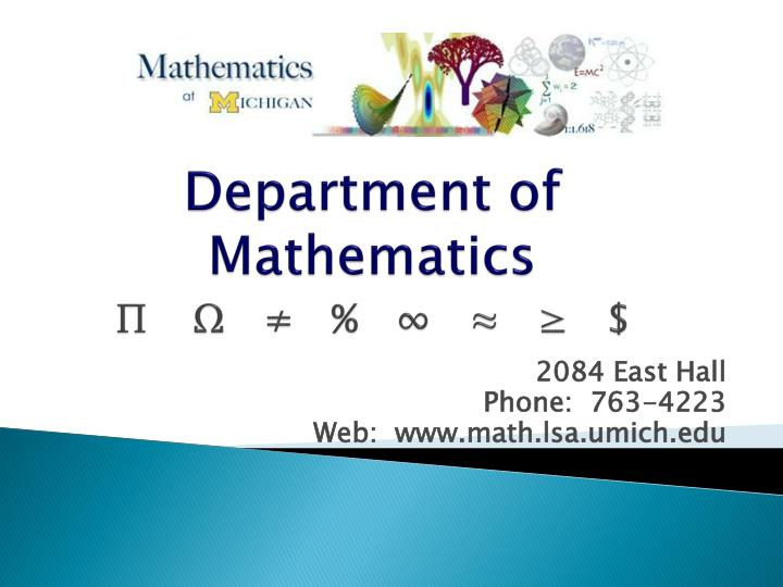 department of mathematics n.