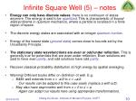 infinite square well 5 notes