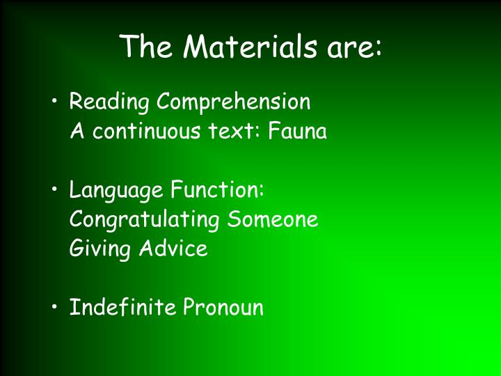 the materials are n.