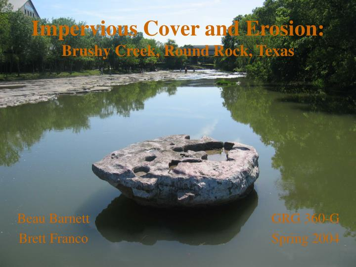 impervious cover and erosion brushy creek round rock texas n.