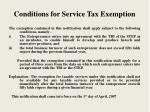 conditions for service tax exemption