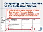 completing the contributions to the profession section2