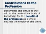 contributions to the profession