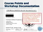 course points and workshop documentation