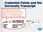 credential points and the university transcript