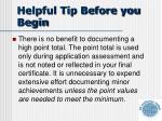 helpful tip before you begin