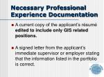 necessary professional experience documentation1