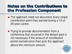 notes on the contributions to the profession component2