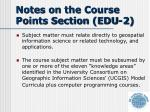 notes on the course points section edu 2