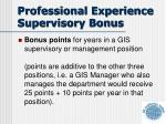 professional experience supervisory bonus