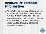 removal of personal information