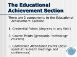 the educational achievement section