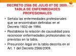 decreto 2566 de julio 07 de 2009 tabla de enfermedades profesionales