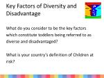 key factors of diversity and disadvantage