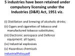 5 industries have been retained under compulsory licensing under the industries d r act 1951 viz