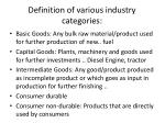 definition of various industry categories