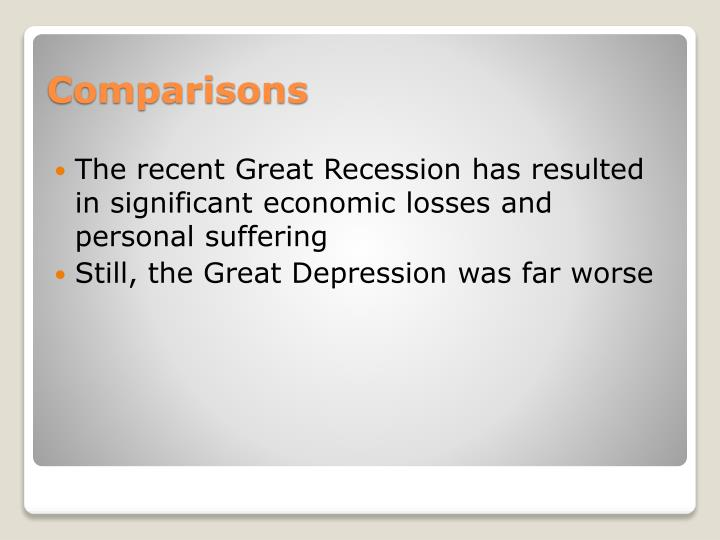 The recent Great Recession has resulted in significant economic losses and personal suffering