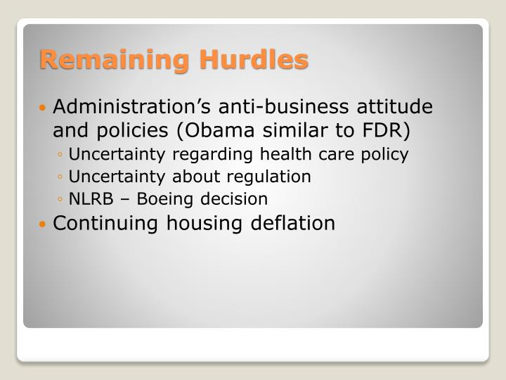 Administration's anti-business attitude and policies (Obama similar to FDR)