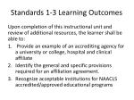 standards 1 3 learning outcomes