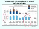 carbon debt from conversion of land to biofuel production