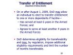 transfer of entitlement department of defense benefit