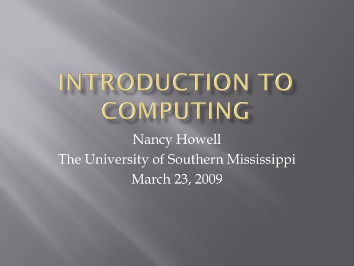 introduction to computing n.
