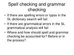 spell checking and grammar checking