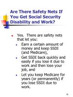 are there safety nets if you get social security disability and work