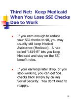 third net keep medicaid when you lose ssi checks due to work