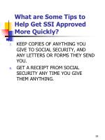 what are some tips to help get ssi approved more quickly2