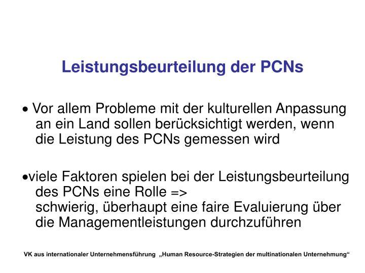 Leistungsbeurteilung der PCNs