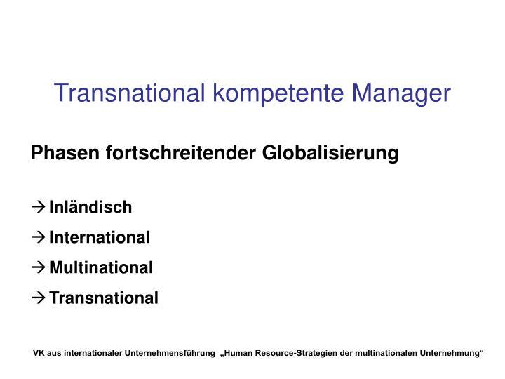 Transnational kompetente Manager